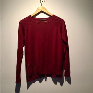 Zara Burgundy Lightweight Scoopneck Sweater